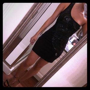 Asymmetrical Fitted black Fox silver detail dress